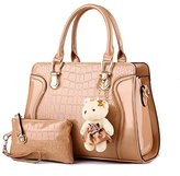 Hynbase Set of 2 Women Fashion Casual Summer PU Leather Tote Handbag Shoulder Bag