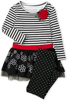 Flapdoodles Toddler Girls) 2-Piece Stripe & Dot Top & Leggings
