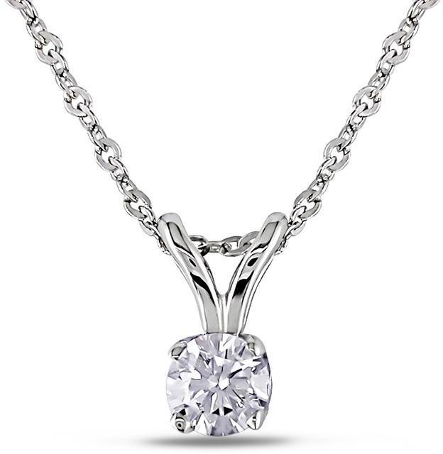 Julie Leah 1/6 CT TW Diamond 14K White Gold Solitaire Pendant Necklace