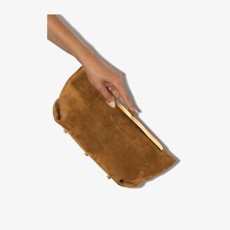 KHAITE Brown Aimee suede envelope clutch bag