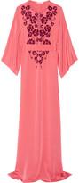 Oscar de la Renta Embellished silk crepe de chine gown
