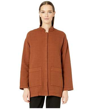 Eileen Fisher Organic Cotton Channels Stand Collar Jacket