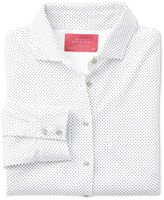 Charles Tyrwhitt White Pindot Print Jersey Cotton Casual Shirt Size 12