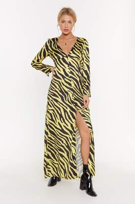 Nasty Gal Womens Button Me Up Zebra Maxi Dress - Yellow - 6, Yellow