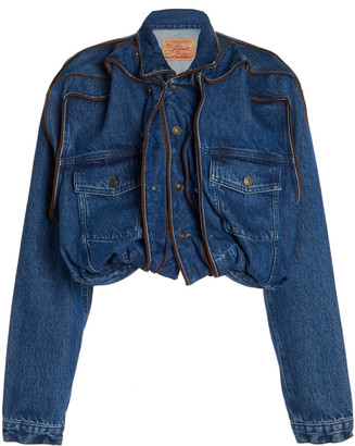 Y/Project Pop-Up Ruffled Denim Cropped Jacket