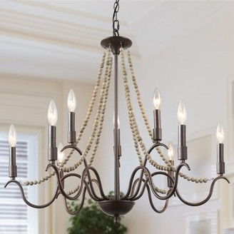 Bungalow Rose Genoveva 9 - Light Candle Style Classic Chandelier with Beaded Accents