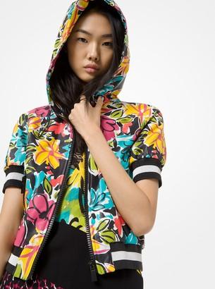 Michael Kors Collection Floral Plonge Leather Short-Sleeve Track Jacket