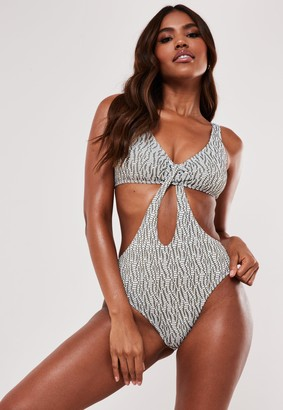 Missguided Petite White Glitter Jacquard Scoop Cut Out Swimsuit