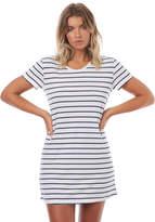Roxy Womens Just Simple Stripe T Shirt Dress White
