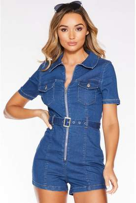 Quiz Blue Denim Short Sleeve Zip Front Playsuit