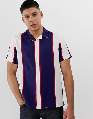 New Look regular fit revere shirt in navy stripe