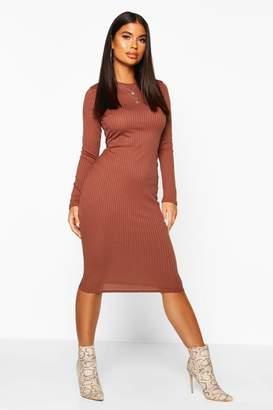 boohoo Petite Jumbo Rib Long Sleeve Midi Dress