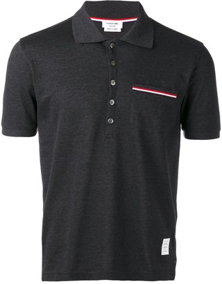 Thom Browne Rwb Pocket Trim Pique Polo