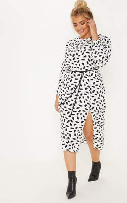PrettyLittleThing Plus White Tie Waist Dalmatian Print Midi Dress