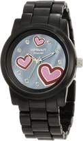Sprout Women's ST/5038JMBK Diamond & Hearts Black Corn Resin Watch