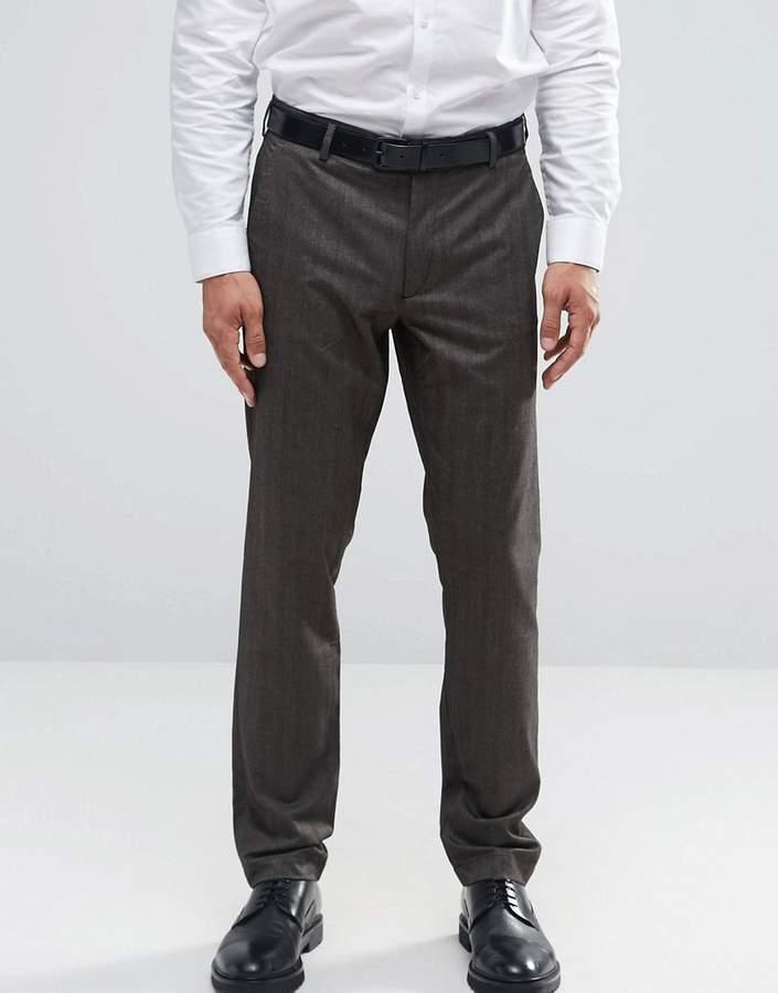 Asos Design Skinny Smart Pants In Brown Herringbone