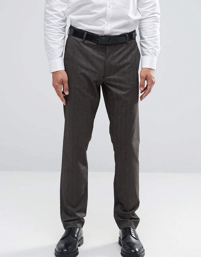 Asos Skinny Smart Pants In Brown Herringbone