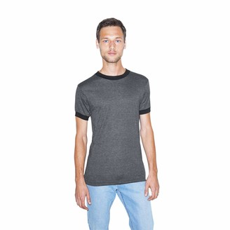 American Apparel Men's 50/50 Crewneck Short Sleeve Ringer T-Shirt