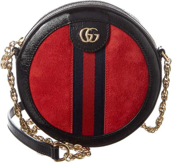 Gucci Ophidia Mini Round Suede & Leather Shoulder Bag
