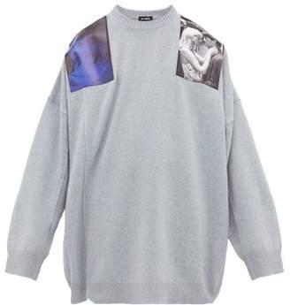 Raf Simons Blue Velvet Print Wool Sweater - Mens - Light Blue