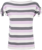 Emporio Armani striped T-shirt - women - Polyester/Viscose - 38