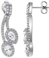 Pierre Cardin Women'S Earrings 925 Sterling Silver Rhodium Plated Glass Zirconia L'Esthétisme Duo S.PCER90246A000 White