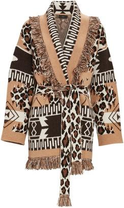 Alanui Leopard Icon Cashmere Wrap Cardigan