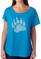 LOS ANGELES POP ART Los Angeles Pop Art Women's Loose Fit Dolman Cut Word Art Shirt - Types of Bears