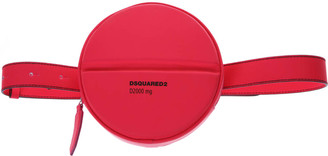 DSQUARED2 Fucsia Logo Round Belt Bag In Leather