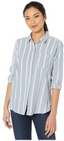 True Grit Dylan By Dylan by Denim Friendly Herringbone Chambray Stripe Button-Up Blouse (Blue) Women's Clothing