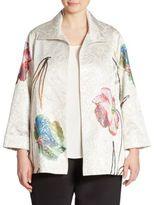 Caroline Rose Floral Jacquard A-Line Jacket