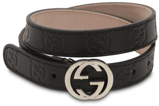 Gucci Embossed Logo Leather Belt