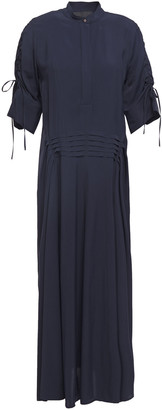 Cédric Charlier Lace-up Ruched Pleated Twill Midi Dress