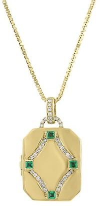 My Story The Megan 14K Yellow Gold, Diamond & Emerald Locket Necklace