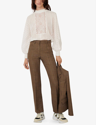 Maje Pedela checked straight high-rise woven trousers