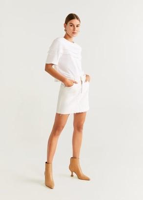 MANGO Fringes details cotton t-shirt off white - XS - Women