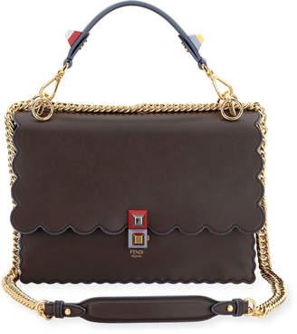 Fendi Kan I Scalloped Leather Shoulder Bag, Black/Multi