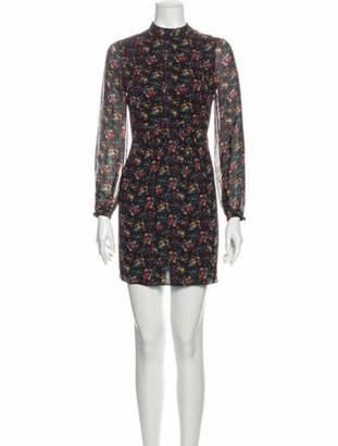 Saint Laurent Floral Print Mini Dress Black
