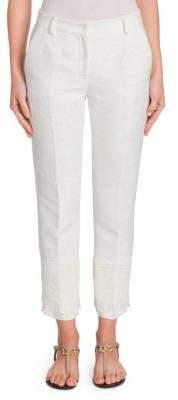 Dolce & Gabbana Brocade Lace Hem Cropped Pants