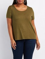 Charlotte Russe Plus Size Ribbed Scoop Neck Tee
