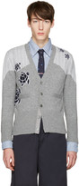 Thom Browne Grey Sea Animal V-neck Cardigan