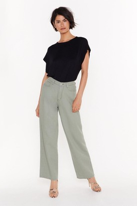 Nasty Gal Womens Searched Far and Wide-Leg Denim Jeans - Green - 14