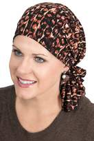 Headcovers Unlimited Slip-On Slinky Pre-Tied Head Scarf: Scarves for Cancer Patients, Chemo Spandex Jersey - Safari