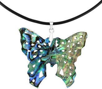 Aeravida Handmade Renewed Butterfly Abalone Shell and Sterling Silver Bail Rubber Cord Necklace