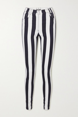 Balmain Striped High-rise Skinny Jeans - White