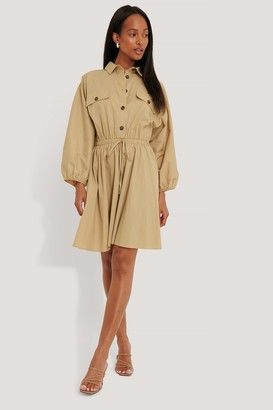 NA-KD Elastic Waist Long Sleeve Shirt Dress