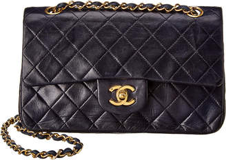 Chanel Navy Quilted Lambskin Leather Small Single Flap Bag