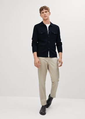 MANGO MAN - Fine knit shirt navy - S - Men