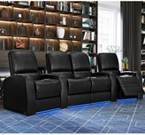 Leather Home Theater Loveseat (Row of 4) Latitude Run Body Fabric: Classic Cappucino, Reclining Type: Manual