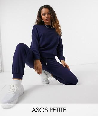 ASOS DESIGN Petite tracksuit ultimate sweatshirt / trackies with tie in organic cotton in navy
